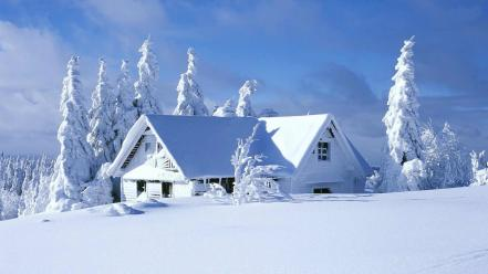 Snow house scenery wallpaper