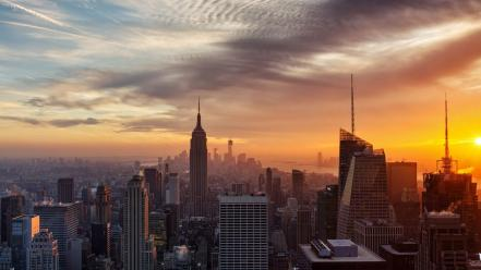 Sunset clouds cityscapes buildings new york city wallpaper