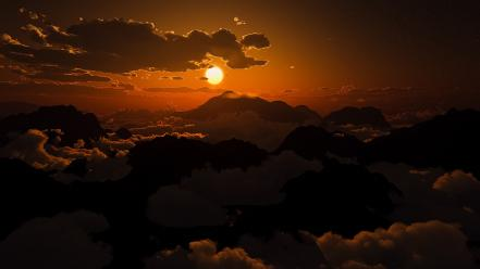 Sunset mountains clouds sun weather shadows sunlight skies wallpaper
