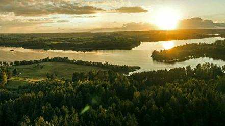 Yellow forests valleys lithuania lakes rivers upscaled wallpaper