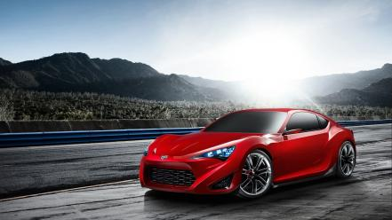 Red cars concept art scion sports wallpaper