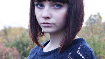 Bangs blue eyes bob cut brunettes landscapes wallpaper