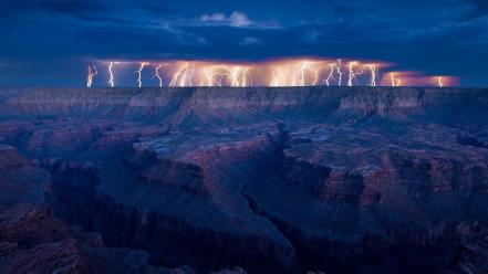 Grand canyon usa landscapes lightning nature Wallpaper