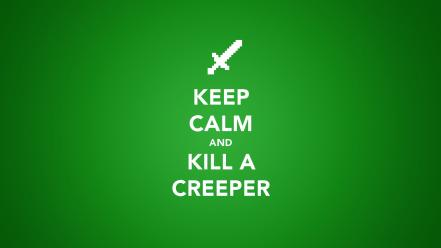 Keep calm and minecraft creeper green minimalistic wallpaper