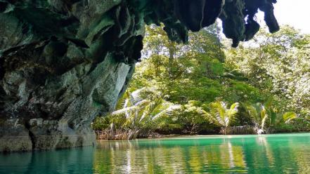 Phillipines rivers emerald turquoise cavern palms rock Wallpaper