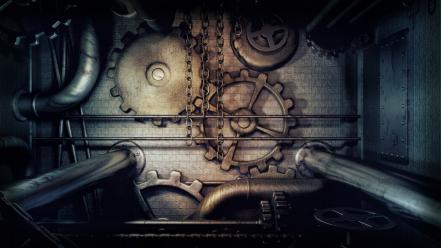Pipeline digital art gears mechanism steampunk wallpaper