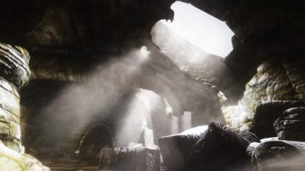 Scrolls v: skyrim nature sunbeams video games wallpaper