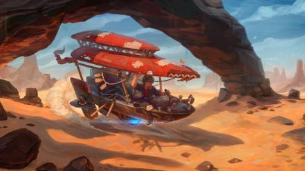 Artwork deserts futuristic steam punk steampunk wallpaper