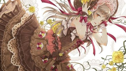 Flowers gray hair lolita fashion original characters wallpaper