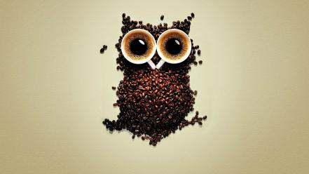 Funny coffee owl wallpaper