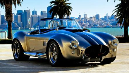 Shelby cobra cars cities retro skyscrapers wallpaper