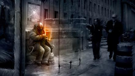 Vitaly s alexius artwork fire homeless rain wallpaper