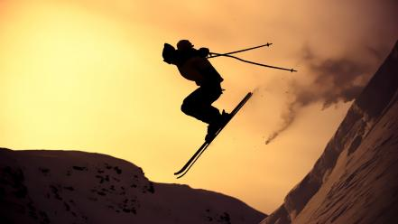 Extreme sports mountains silhouettes skiing snow wallpaper