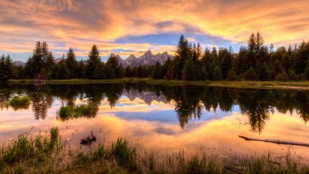 Grand teton national park wyoming clouds dawning grass wallpaper