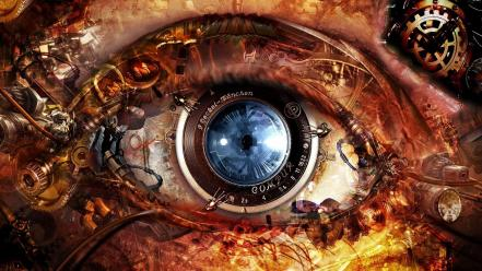 Artistic clockwork digital art eyes lens wallpaper