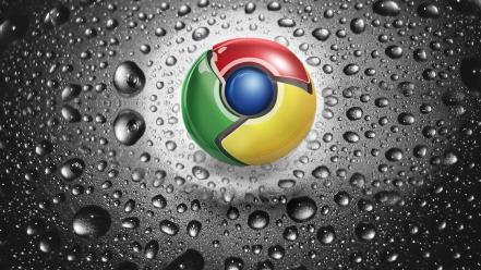 Google chrome logos water drops wallpaper