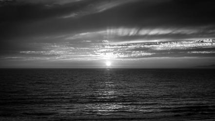 Sun grayscale landscapes water wallpaper