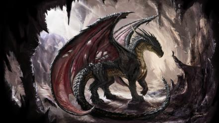 Artwork caves dragons fantasy art wings Wallpaper