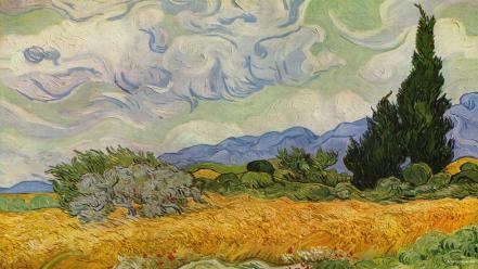 Gogh wheat field with cypresses artwork paintings wallpaper
