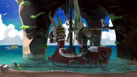 Of zelda: wind waker boats crabs ocean wallpaper