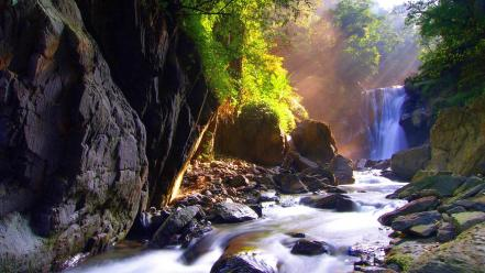 Waterfall sunshine wallpaper