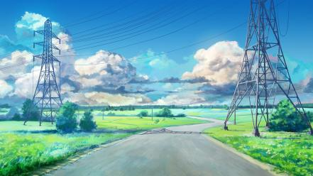 Arsenixc clouds power lines roads scenic Wallpaper