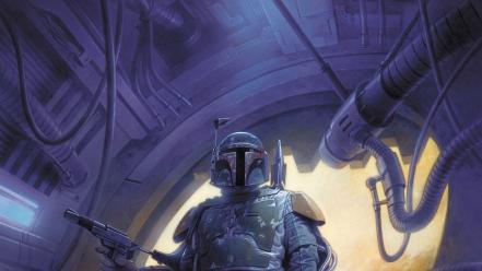 Boba fett star wars artwork bounty hunter futuristic Wallpaper