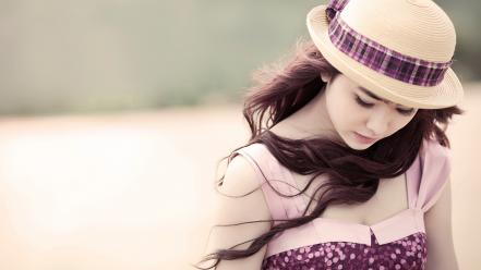 Cute girl with hat wallpaper