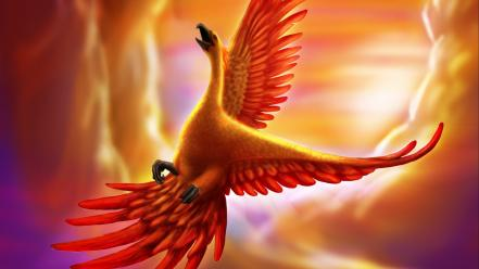 Fantasy art golden phoenix wallpaper