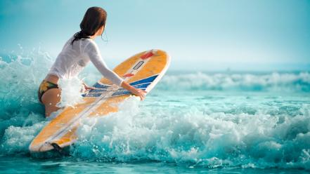 Girl surfing pictures Wallpaper