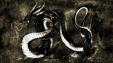 God asian art black dragon digital dragons wallpaper