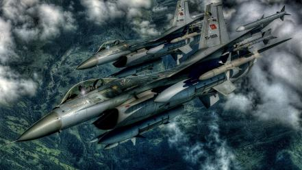 Hdr photography aircraft f-16 wallpaper
