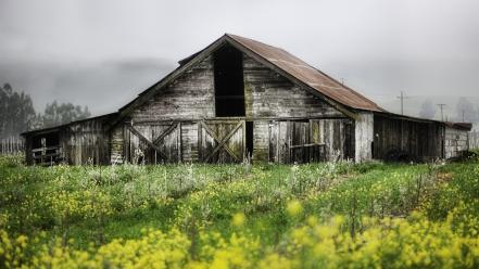 Abandoned farms house huts landscapes wallpaper