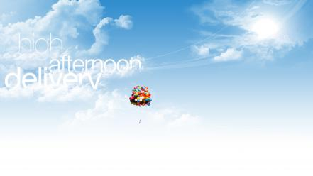 Afternoon balloons clouds skyscapes text Wallpaper