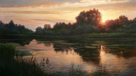 Artwork landscapes nature paintings sunset wallpaper
