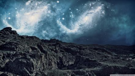 Artwork mountains nature outer space skies Wallpaper