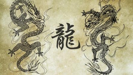 Asian art dragons Wallpaper