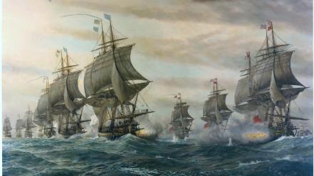 British battles ocean paintings sail ship Wallpaper