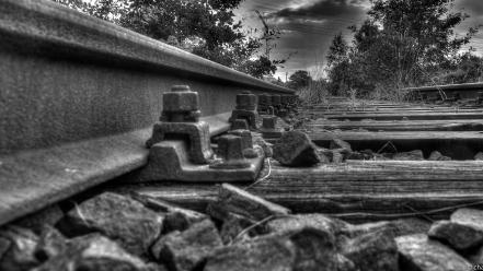 Hdr photography black and white railroad tracks railway Wallpaper