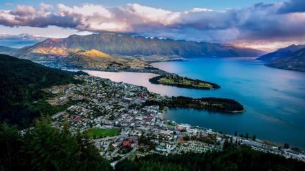 Lake wakatipu new zealand queenstown bay landscapes wallpaper