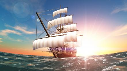Rendering sun artwork ocean pirates wallpaper