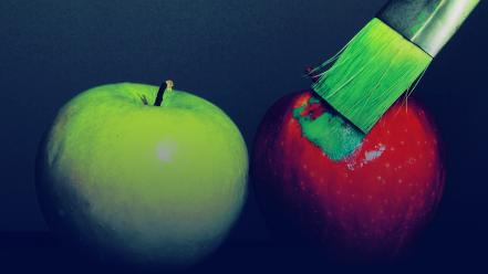 Apples fruits paint brushes wallpaper