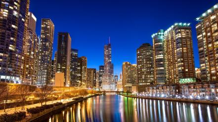 Chicago cities cityscapes night rivers Wallpaper