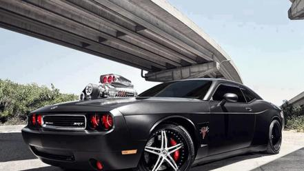 Dodge challenger srt8 notbland big block black tuning wallpaper