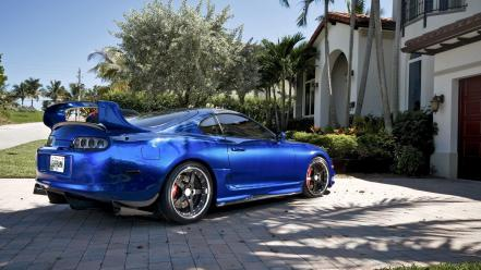 Domestic market toyota supra blue cars houses wallpaper