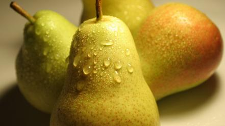 Fruits pears water drops wallpaper
