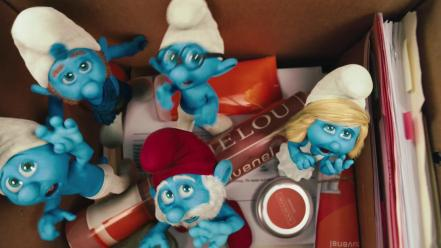 Papa smurf smurfette the smurfs cartoons wallpaper
