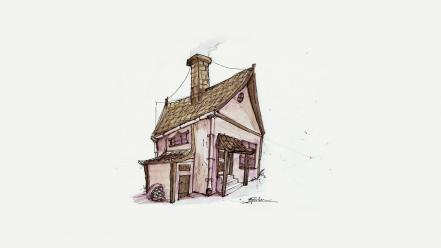 Artwork house simple background sketch Wallpaper