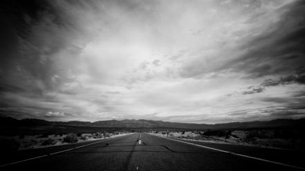 Clouds grayscale landscapes streets wallpaper