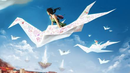 Clouds paper plane skyscapes wallpaper